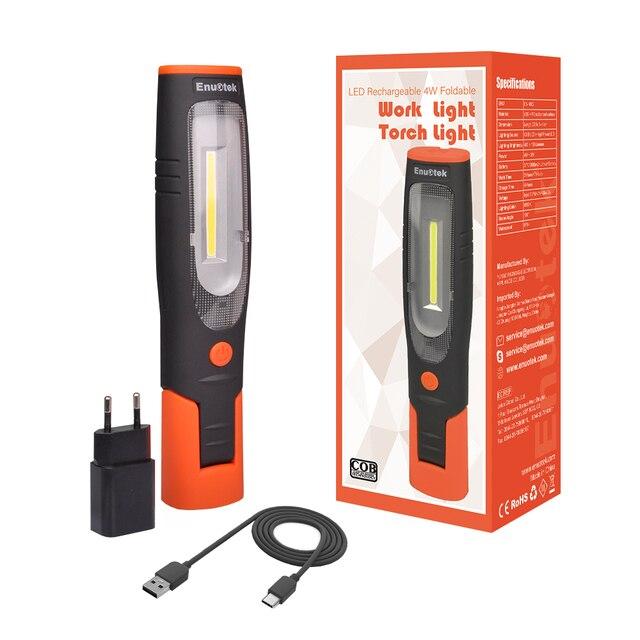 Lampe dinspection de LED portative de lumière de travail de LED sans fil Rechargeable double crochets lumière de torche LED avec la prise de lue pliable magnétique