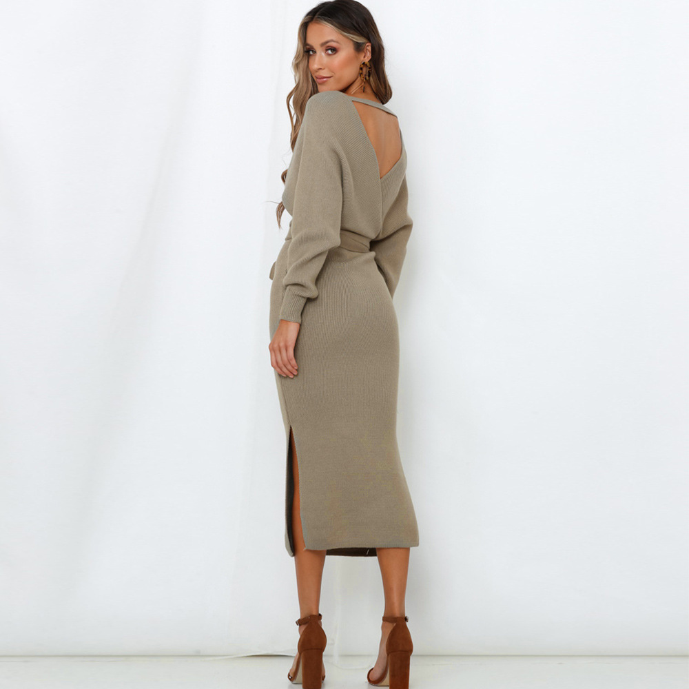 Long Sleeve V Neck With Cross Belt Sweater Knitted Dress 31