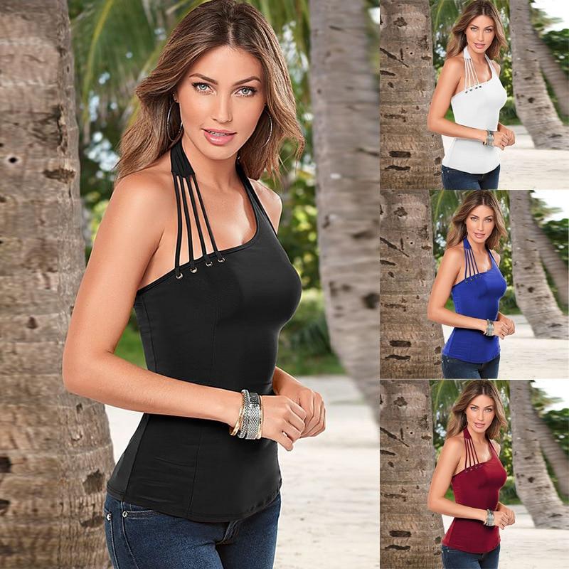 Women's Sexy V Neck Halter Spaghetti Strap Backless Cami Tank Top Irregular Vest Plus Size S-XXXL