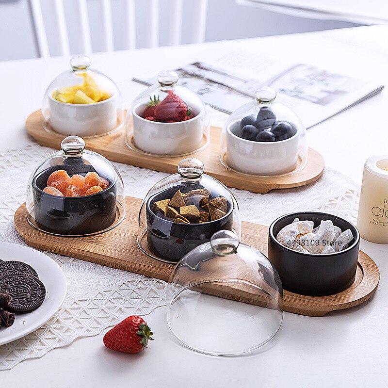 Utensílios de mesa japonês preto cerâmica sobremesa tigela prato de frutas criativo cobertura de vidro do agregado familiar lanche placa de bolo de frutas secas