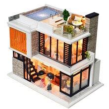 Cutebee diy casa de bonecas casas de boneca de madeira em miniatura casa de bonecas kit de móveis casa música led brinquedos para crianças presente aniversário