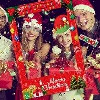 Behogar Merry Christmas забавная бумажная рамка для селфи с 1 комплектом фото стенд реквизит для рождества Рождественские вечерние принадлежности