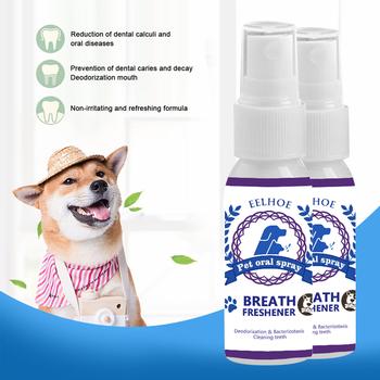 30ML Dental Pet Spray Pet Oral Spray usta odświeżacz antybakteryjny doustny Spray leczenie pies zdrowa opieka stomatologiczna oddech Spray tanie i dobre opinie CP221361 10*3cm