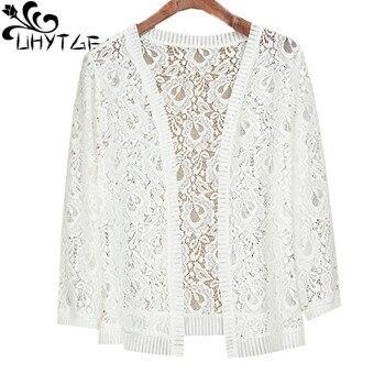 UHYTGF knitted cardigan summer coat women fashion hollow shawl thin 7XL plus size jacket solid color wild elegant short top 1676