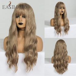 EASIHAIR Long Dark Blonde Wigs with Bangs Synthetic Wigs For Women Wavy Cosplay Wigs Heat Resistant Natural Hair Wigs