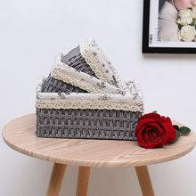 Box Organizer Storage Container Bamboo Woven Basket Clothes Toy Book Sundries Wicker Material Home