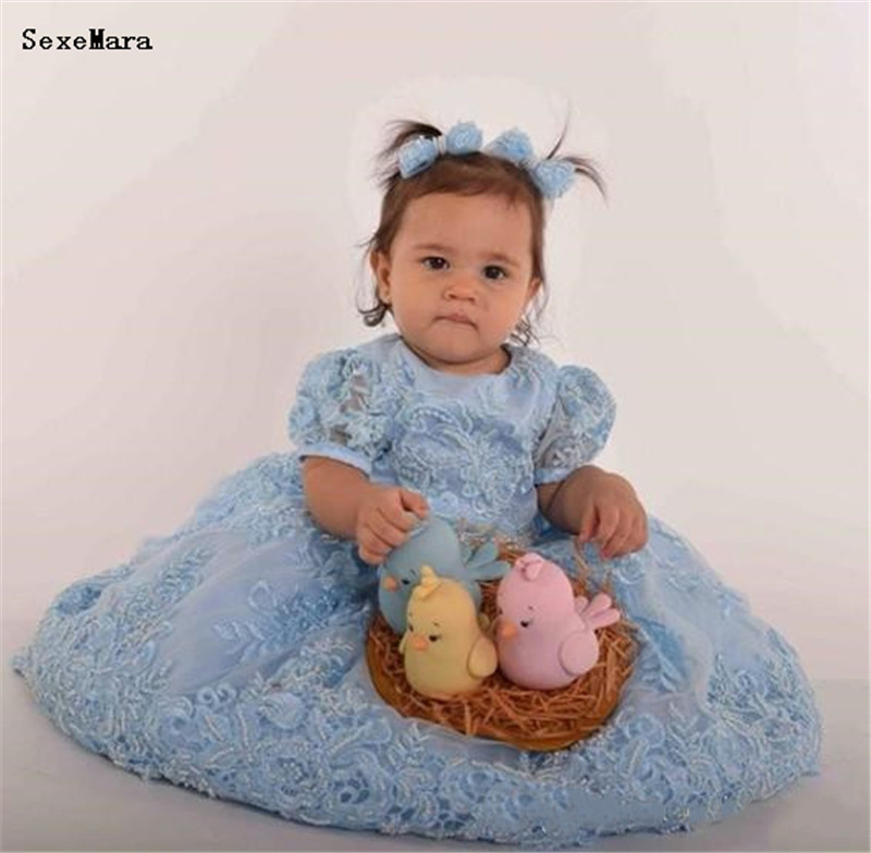 SexeMara Blue Lace Baby Girls Birthday Clothes with Big Bow Beads Applique O Neck Long Length Infant Toddler Dress Formal Wear