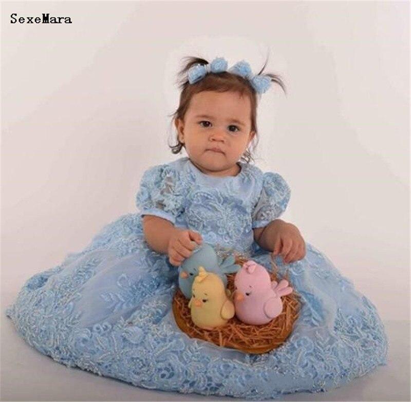 SexeMara bleu dentelle bébé filles vêtements d'anniversaire avec gros nœud perles Applique O cou longue longueur infantile enfant en bas âge robe vêtements de cérémonie