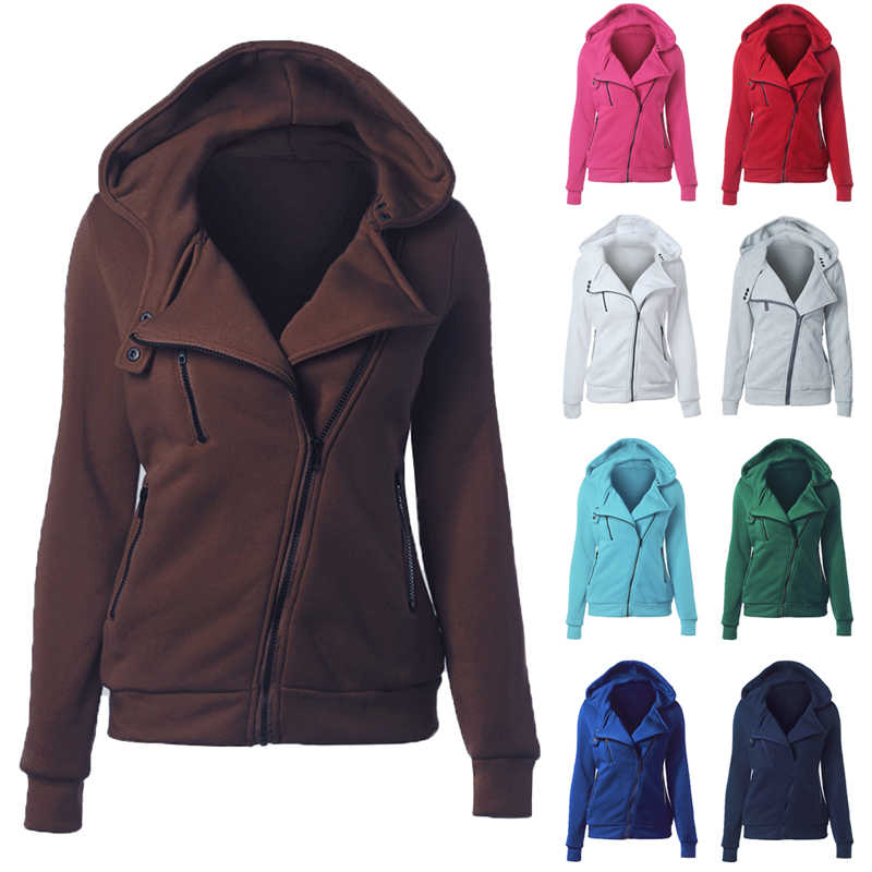 Fashion Hoodies Sweatshirts Women Long Sleeve Hoodie Jackets Zipper Hoody Jumper Overcoat Outwear Harajuku Female Clothes