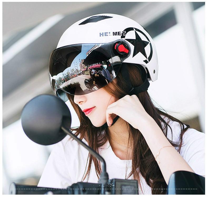 Motorcycle Helmet Scooter Bike Open Face Half Baseball Safety  Cap Anti-UV Safety Hard Hat Motocross Helmet Multiple Color