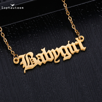 Personalized Custom Name Necklace Pendant Gold Color Link Chain Custom Nameplate Letter Necklaces for Women Men Handmade Gifts 925 sterling silver custom pendant necklace diy photo engraving necklace custom personalized gifts drop shipping ylq0845