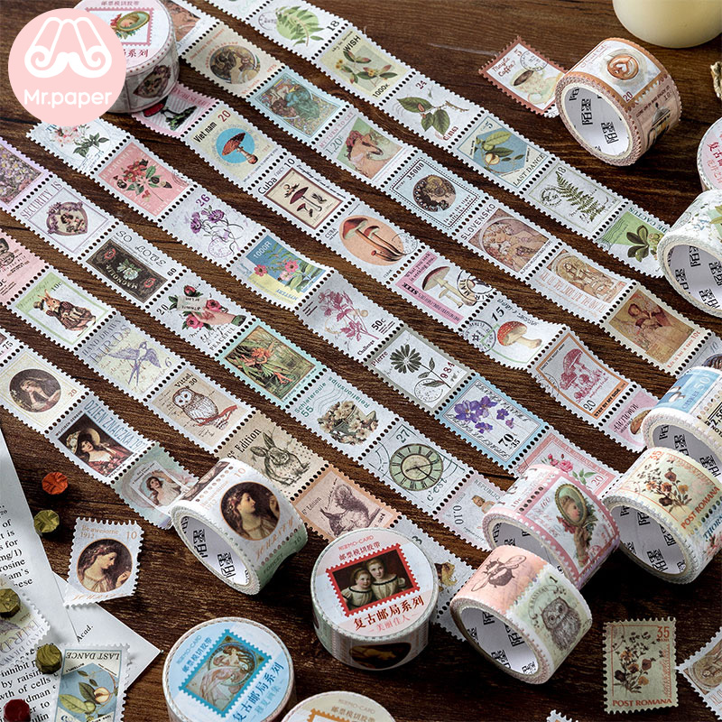 Mr Paper 8 Designs Retro Post Office Plant Bullet Journaling Stamp Tapes Scrapbooking Deco Sticker Masking Tapes Easy to Tear 1