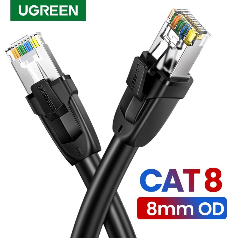 Ugreen Cat8 Ethernet kablosu RJ45 ağ kablosu SFTP Lan Cat 7 RJ45 yama kablosu PlayStation ps4 yönlendirici dizüstü kablo Ethernet title=
