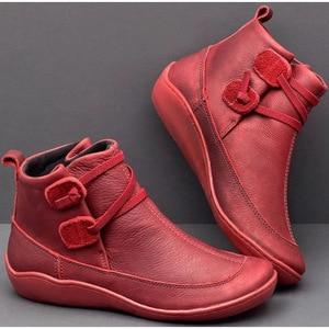 Image 5 - מגפי קרסול עור PU לנשים סתיו חורף צלב רצועות בציר נשים פאנק מגפיים שטוחות נעלי גבירותיי אישה Botas Mujer