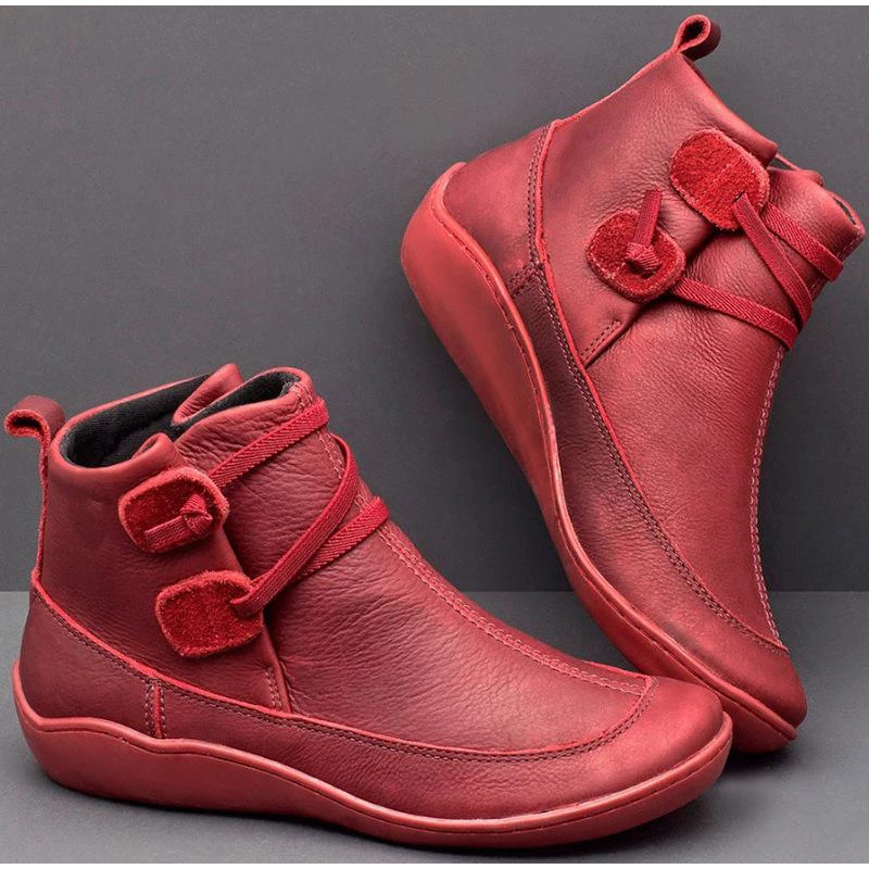 Image 5 - Women's PU Leather Ankle Boots Women Autumn Winter Cross Strappy Vintage Women Punk Boots Flat Ladies Shoes Woman Botas Mujer-in Ankle Boots from Shoes