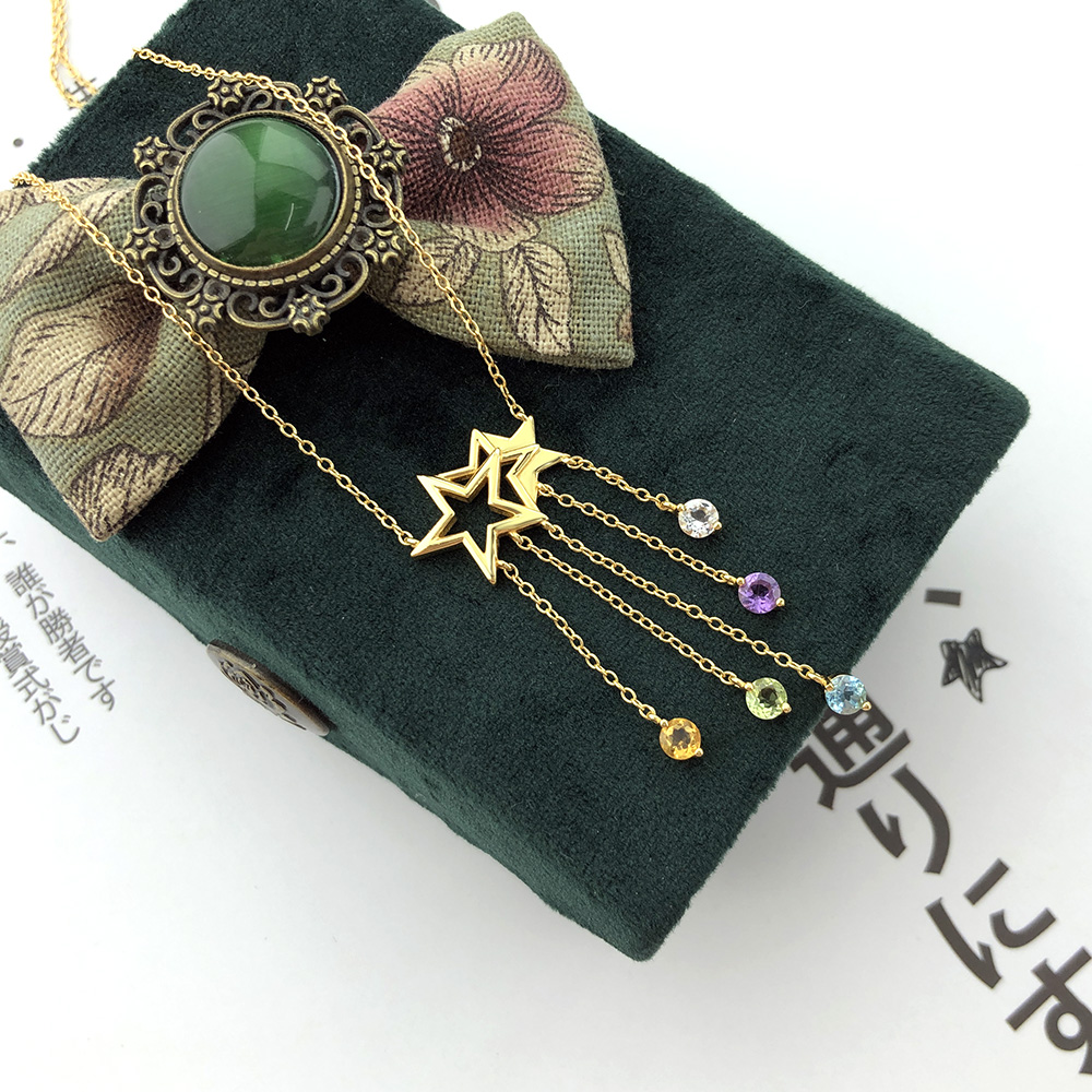 LAMOON 925 Sterling Silver NecklaceStar Tassel Shooting Star Gemstone Pendant 14K Gold Plated Fine Jewelry For Women LMNI098(China)