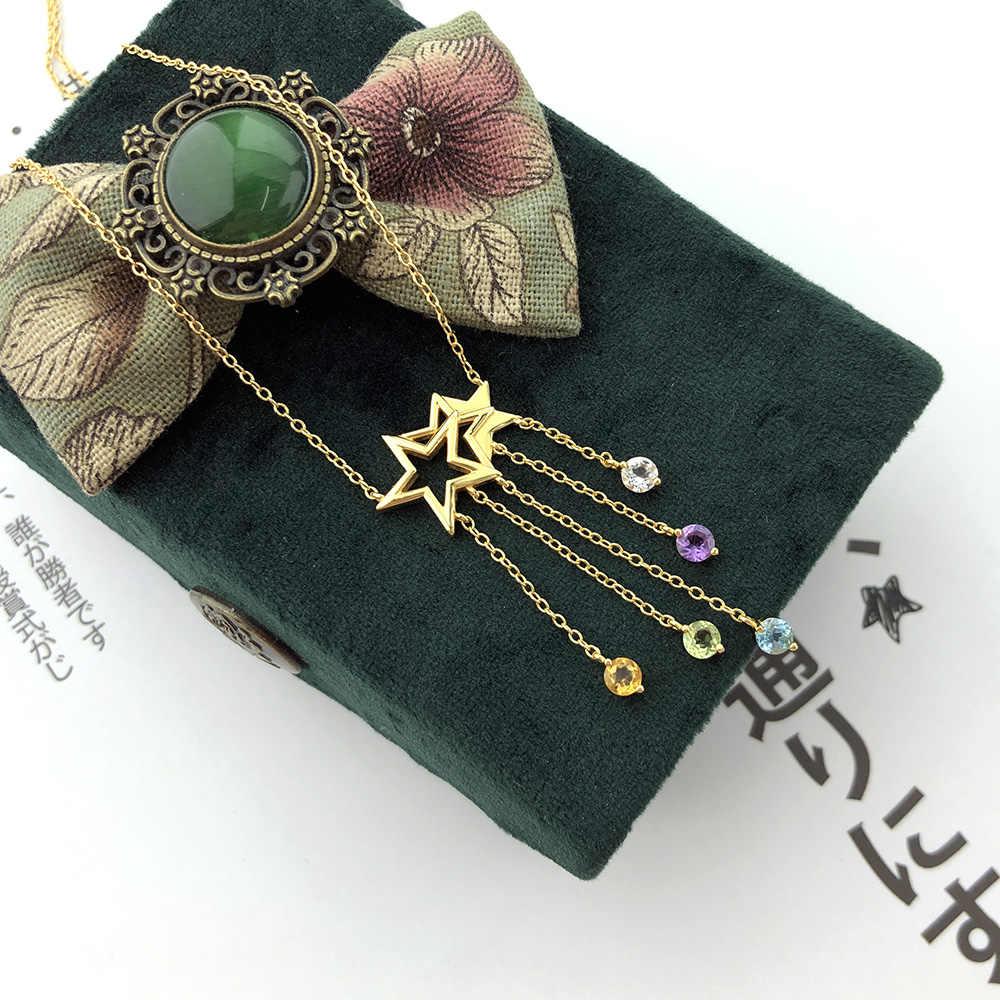 LAMOON 925 ayar gümüş NecklaceStar püskül çekim yıldız taş kolye 14K altın kaplama güzel takı kadınlar için LMNI098
