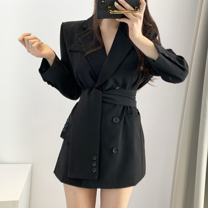 Elegant Sash Belt Women Blazer Dress Autumn Notch-neck Office Ladies Blazer Dress Streetwear Long Jackets Female Short Vestidos