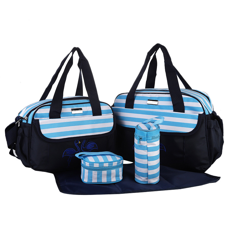 New Foreign Trade Fashion Striped Diaper Bags Five-piece Oxford Cloth Waterproof Multifunctional Large-Capacity Baby Bag