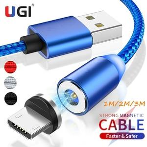 UGI-Cable magnético de carga rápida, Cable Micro USB tipo C de 1M, 2M y 3M para IOS, conexión automática de 360 °, nailon trenzado LED