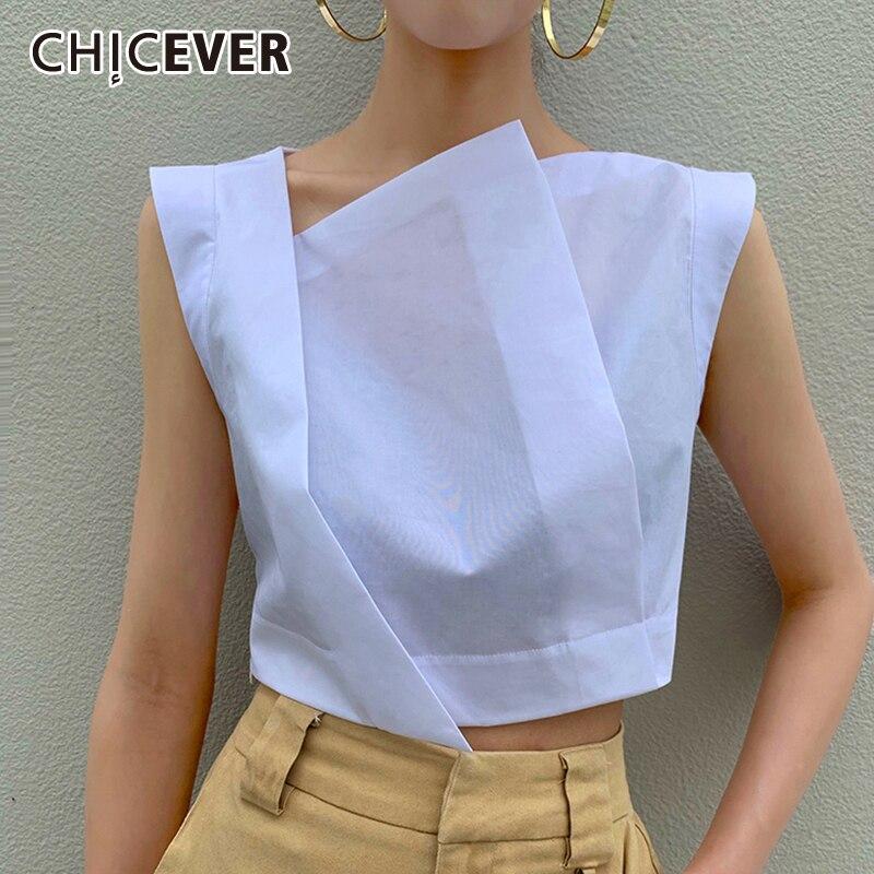 CHICEVER Perspective Irregular Women's Shirt Skew Collar Sleeveless Korean Style Blouse For Female 2019 Summer Fashion New