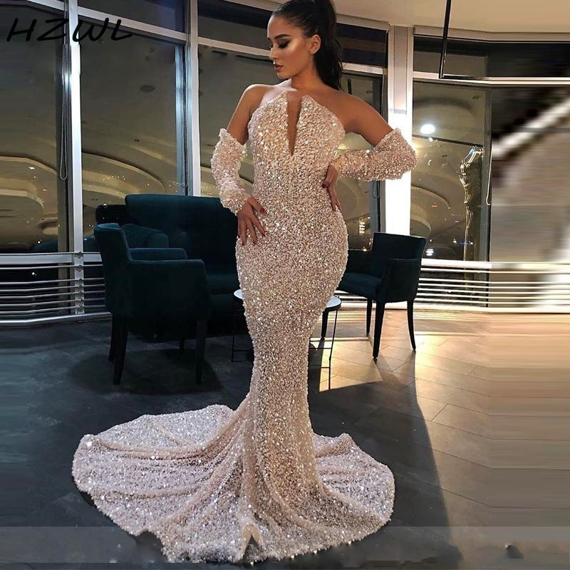 Shiny Sequins Prom Dresses With Detachable Sleeves Strapless Mermaid Evening Gowns Sweep Train Yong Girls Party Dress Cheap