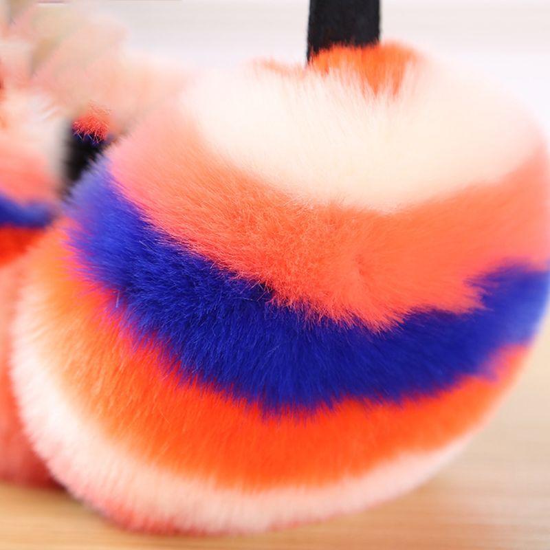 Women Winter Fluffy Plush Earmuffs Rainbow Colorful Stripes Collapsible Headband 95AB