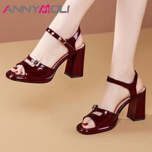 High-Heel Shoes Sandals Women Platform Open-Toe Black Real-Leather Size-40 Summer ANNYMOLI