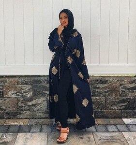 Image 2 - ドバイアラブオープンアバヤイスラム教徒ヒジャーブドレス女性着物レースアップローブドバイカフタン abayas イスラム服カフタン musulman marocain ロングローブ