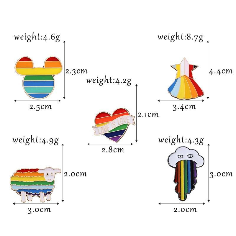 Rainbow Color Brooch Pins 5