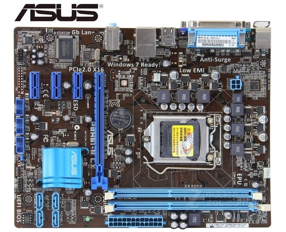 ASUS P8H61-M LX used motherboard DDR3 LGA 1155 USB2 0 for intel H61 Desktop mainboard pc mainboard