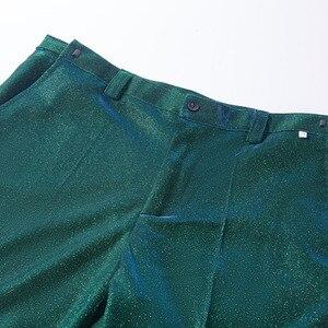 Image 5 - PYJTRL Moda Brilhante Azul Verde Roxo 2 Peças Conjunto Ternos de Casamento Para Os Homens Smoking Do Baile de finalistas Do Partido DJ Cantoras Traje Homme coro