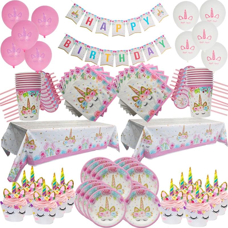 Unicórnio festa suprimentos descartáveis kit de mesa placa de papel guardanapo copo crianças aniversário decoração crianças evento festa suprimentos
