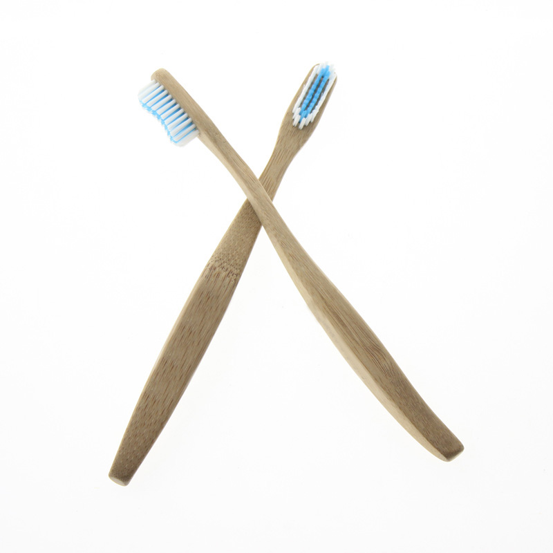 FDA Certification 2Pcs/Set 19cm Big Handle White Blue Bristle Natural Biodegradable Eco-Friendly Bamboo Toothbrush Tooth Brush image