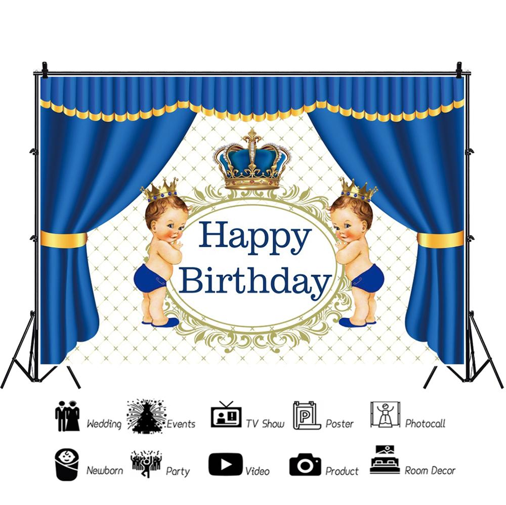 Laeacco Baby Shower Curtain Birthday Portrait Photography Background Customized Prince Crown Photographic Backdrops Photo Studio