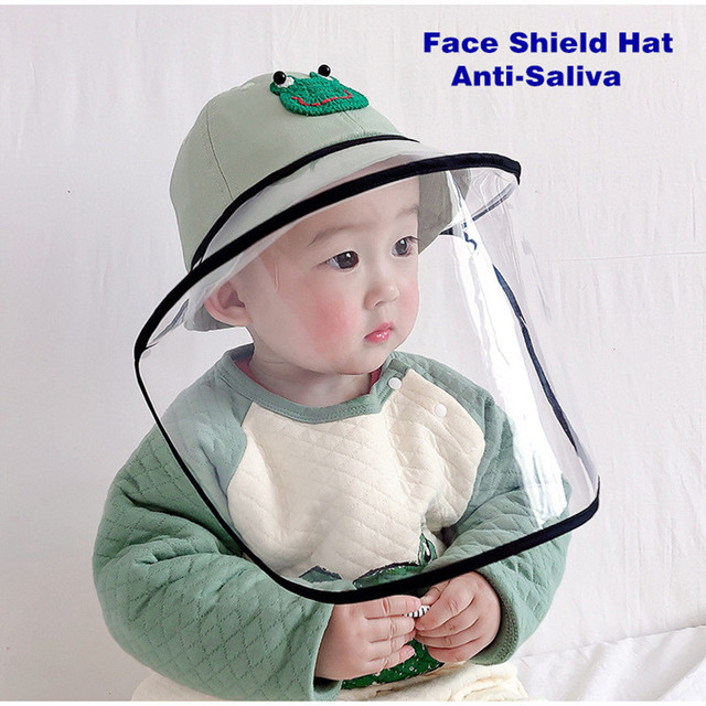 Baby Bucket Hat Protective Full Face Shield Cover Kids Hats Anti Saliva Dustproof Dual-use Sun Hat Cap With Clear Facial Mask