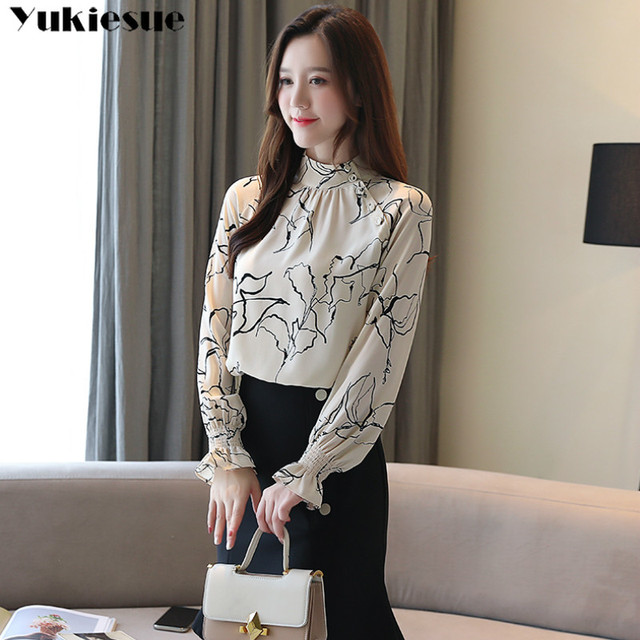 long sleeve OL office summer women's shirt blouse for women blusas womens tops and blouses chiffon shirts ladie's top plus size 5