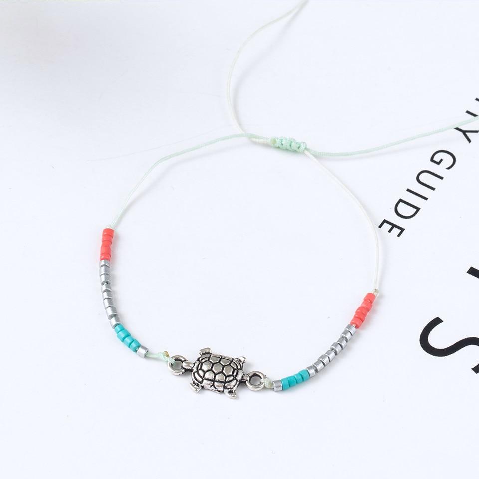 Boho Ankle Bracelet Bohemian Colorful Heart Beads Jesus Cross Turtle Butterfly Infinity Triangle Anklet Women's Leg Bracelet (19)