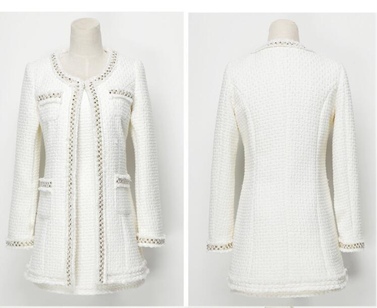 Dress Suits Women Runway Fashion Designers Elegant Office Ladies Formal Tweed Blazer Jacket White Black Beads 2 Piece Set Outfit
