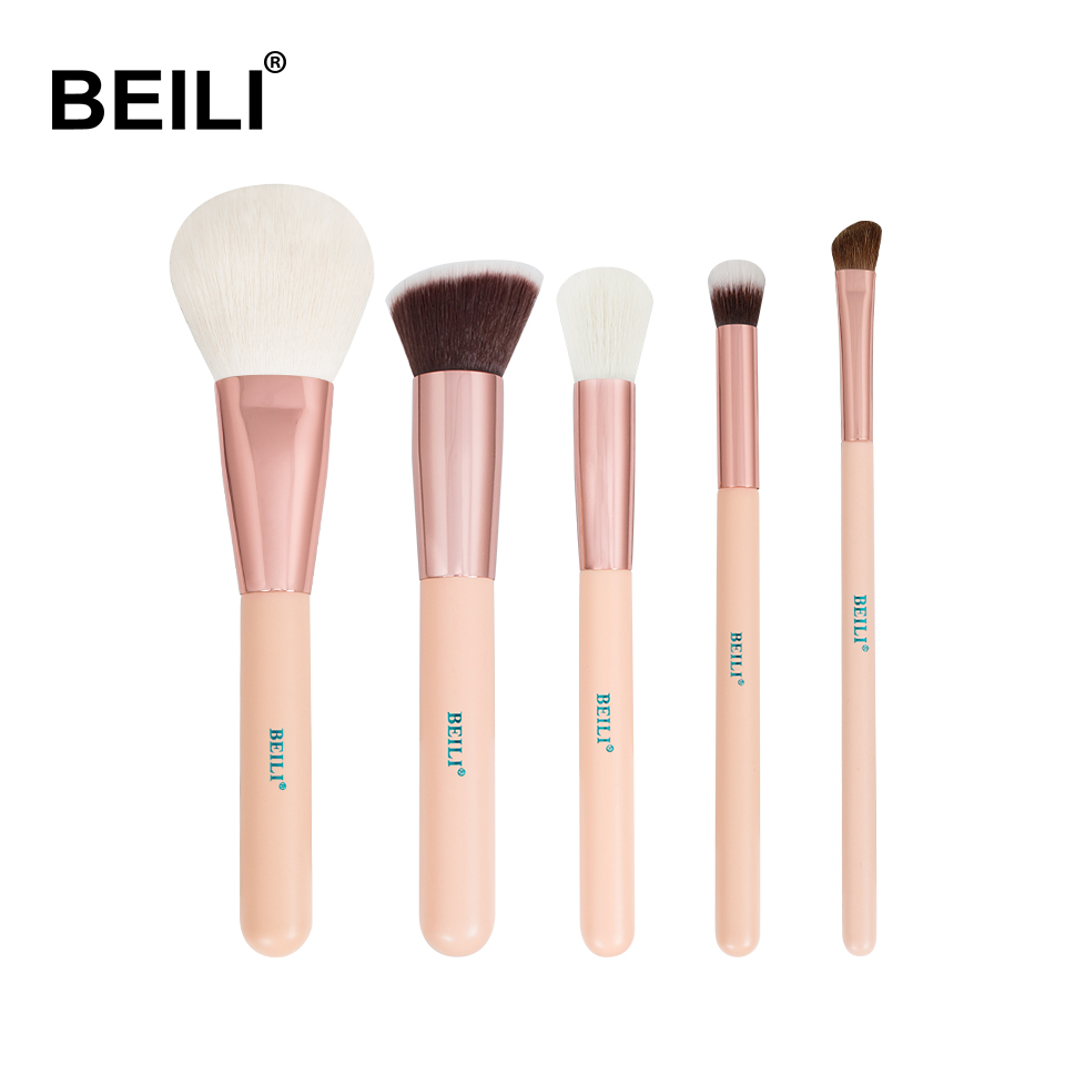 BEILI Rose Golden 5pcs Pink Makeup Brush Set Powder Contour Concealer Eye Shadow Makeup Tool set of brushes