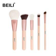 BEILI Rose Golden 5pcs Pink Makeup Brush Set Powder Contour Concealer Eye Shadow