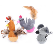 1PC Pet Cat Toy Mouse Chick with Feather Supplies Tumbler Bite