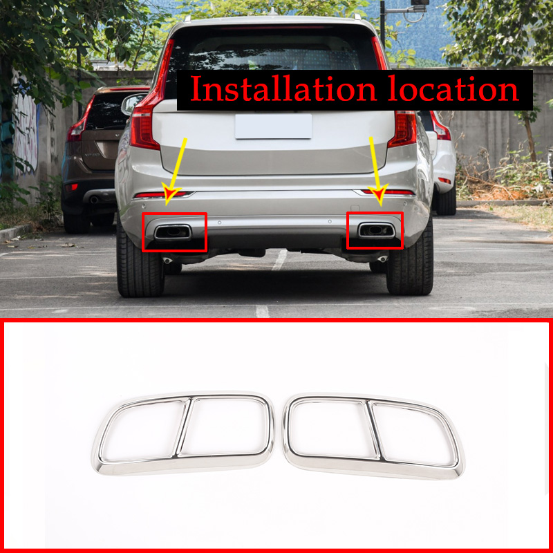 2pcs Stainless Steel Chrome Car Tail Exhaust Pipe Muffler Cover Trim For <font><b>Volvo</b></font> <font><b>XC90</b></font> 2015 <font><b>2016</b></font> 2017 2018 2019 <font><b>Accessories</b></font> image