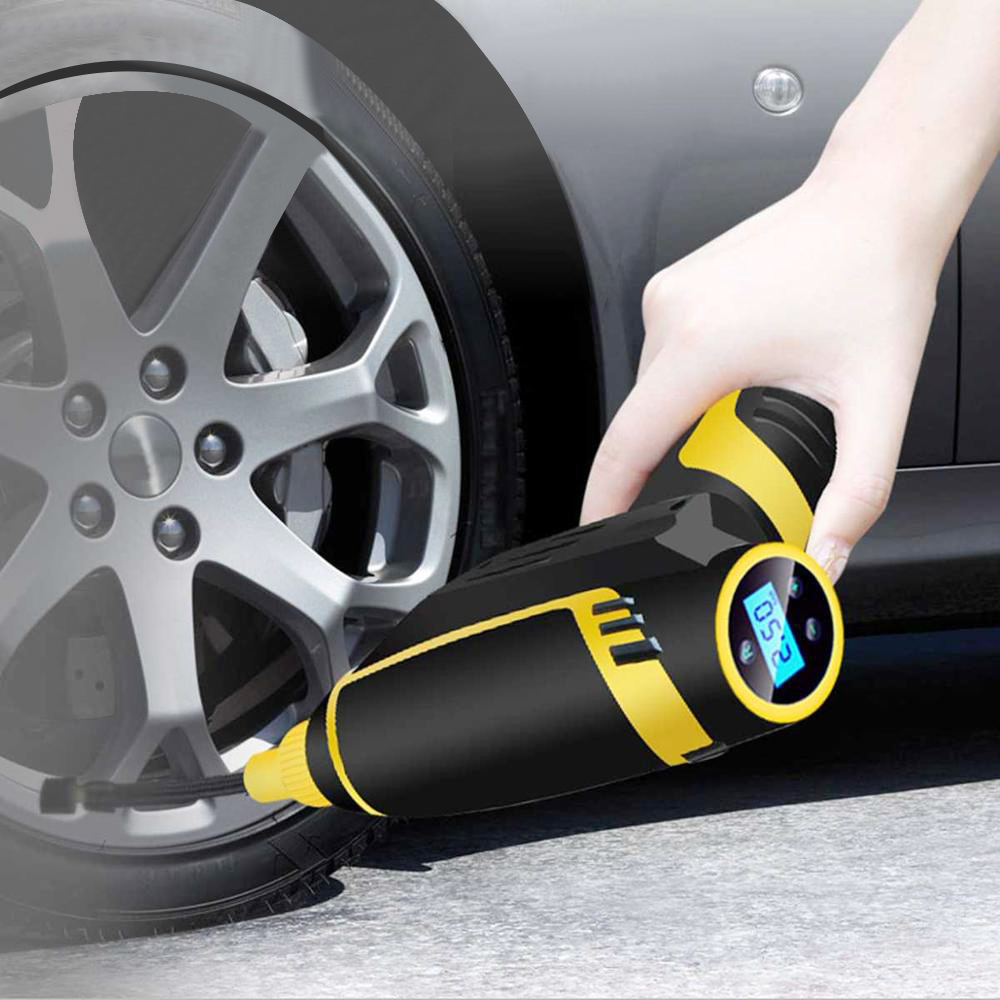 Tire Inflator Car-Accessories Pressure-Gauge Digital Rechargeable 120W Wireless USB Handheld title=