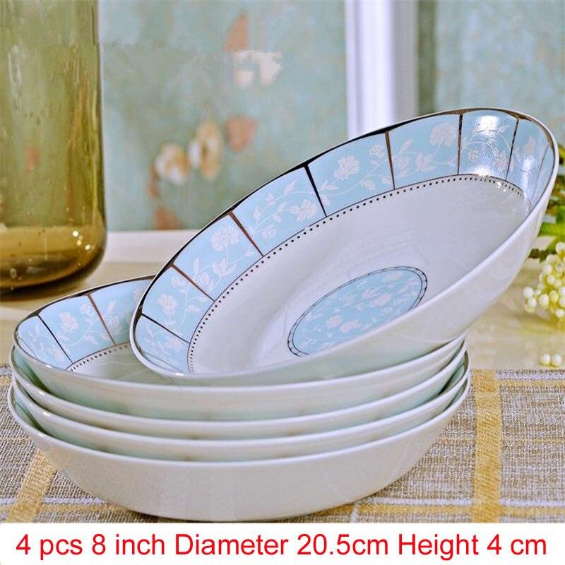 Jingdezhen porcelaine porcelaine vaisselle | Porcelaine, vaisselle pour la salle à manger, vaisselle en céramique assiettes à soupe profonde, assiettes à Sushi 4 pièces/ensemble - 2