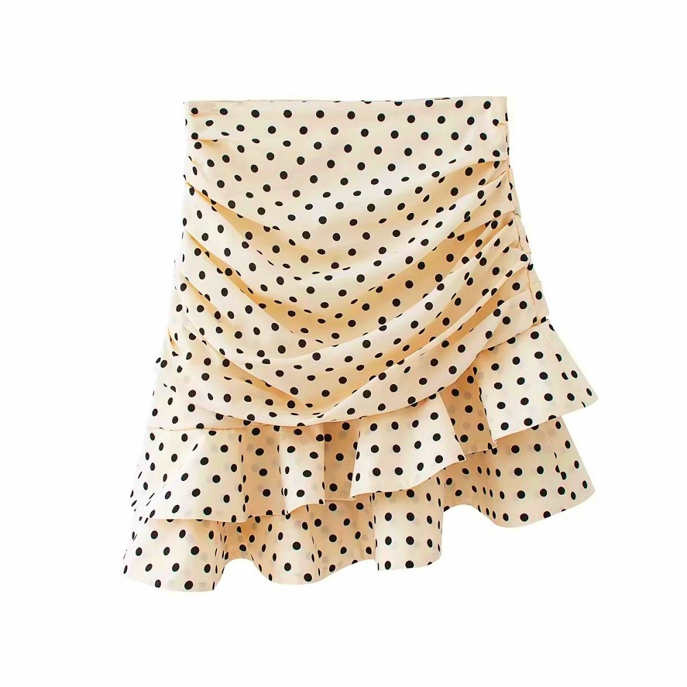 Stylish Chic Khaki Polka Dot Print Ruched Asymmetrical Mini Skirt Za 2020 Fashion Women Skirts Casual Streetwear Jupe