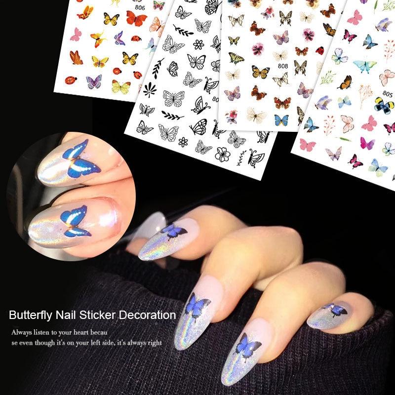 1 Sheet Butterfly Nail Art Stickers 3D Cartoon Cute Butterfly DIY Manicure Decal Decoration