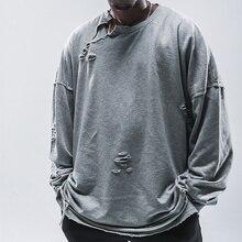 Cooo Coll Men High Street T-shirt Long Sleeve Hip Hop Kanye West Hole Tearing Asap Rocky 19fw Tops Tee pinkfloyd t shirt