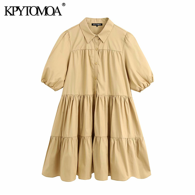 KPYTOMOA Women 2020 Sweet Fashion Ruffled White Mini Dress Vintage Lapel Collar Puff Sleeve Female Dresses Chic Vestidos Mujer 3