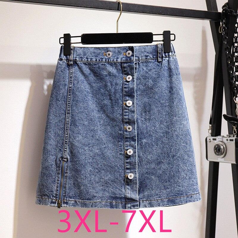 New Summer Plus Size Mini Skirt For Women Large Casual Loose Elastic Waist Button Pocket Blue Denim Skirts 3XL 4XL 5XL 6XL 7XL